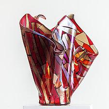 Flowering Red by Varda Avnisan (Art Glass Sculpture)