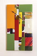 Color Block Art Glass Clock I by Varda Avnisan (Art Glass Clock)