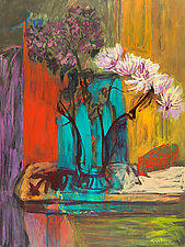 Still Life with Peonies by Leonard Moskowitz (Acrylic Painting)