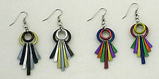 Fanfare Colorful Fan Dangles by Sylvi Harwin (Aluminum Earrings)
