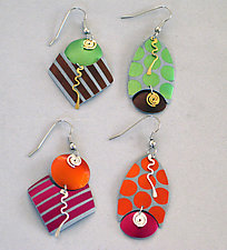 Polka Dots & Stripes Earrings by Sylvi Harwin (Aluminum Earrings)