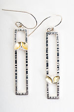 Folded Leaf Rectangle Earrings with Gold by Sadie Wang (Gold & Silver Earrings)