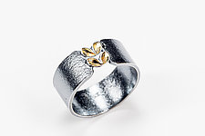 Folded Two Gold Leaf Silver Ring by Sadie Wang (Gold & Silver Ring)