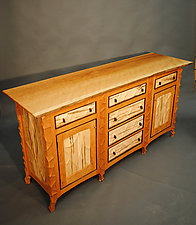 Sculpted Cherry Cabinet with Live Edge Top by John Wesley Williams (Wood Cabinet)