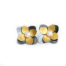Succulent Studs by Katie Carder (Gold, Silver & Pearl Earrings)