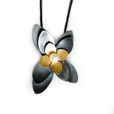 Succulent Pendant by Katie Carder (Gold, Silver & Pearl Necklace)