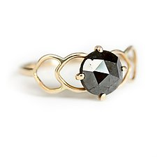 Black Diamond Filigree Ring by Katie Carder (Gold & Stone Ring)
