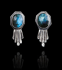 Labradorite Feathered Studs by Ashley Vick (Silver & Stone Earrings)