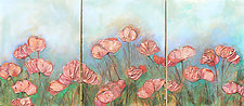 Spring Poppies Triptych by Denise Souza Finney (Acrylic Painting)