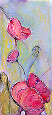 Four Pink Poppies by Denise Souza Finney (Acrylic Painting)