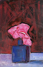Cobalt Blue on Red Velvet by Denise Souza Finney (Acrylic Painting)