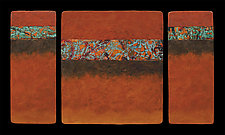 Canyon Walls: OBO M+ Triptych by Kara Young (Mixed-Media Wall Hanging)