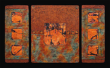 Earth and Fire: Sage L Triptych by Kara Young (Mixed-Media Wall Hanging)