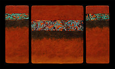 Canyon Walls: Rose M+ Triptych by Kara Young (Mixed-Media Wall Hanging)