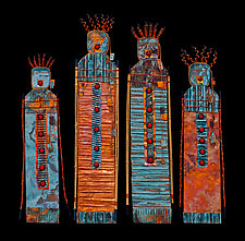 Fire Keepers: S and M Quartet by Kara Young (MIxed-Media Wall Sculpture)