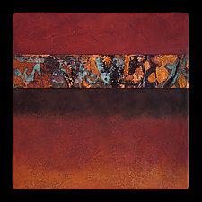 Canyon Walls: Rose/Blue 12x12 by Kara Young (Mixed-Media Wall Hanging)