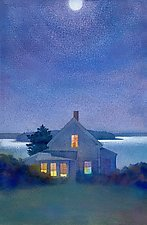 Yellow House at Night by Suzanne Siegel (Pigment Print)