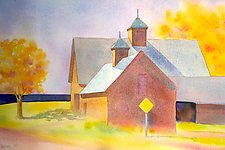 Autumn Barns by Suzanne Siegel (Watercolor Painting)