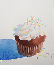 Large Chocolate Cupcake with Sprinkles by Suzanne Siegel (Watercolor Painting)