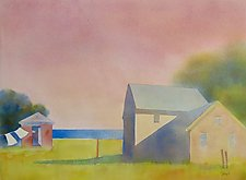 Pink Sky and Laundry by Suzanne Siegel (Paintings & Drawings Watercolor Paintings)