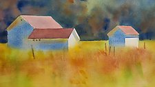 Old Lyme Barns by Suzanne Siegel (Watercolor Painting)