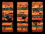 Earth and Fire: Torn Metal M Triptych by Kara Young (Mixed-Media Wall Hanging)