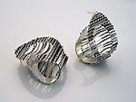 Filigree Oval Stud Earrings by Ashley Vick (Silver Earrings)