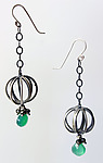 Tiny Cage Earrings with Emeralds and Pyrite by Ashley Vick (Silver & Stone Earrings)