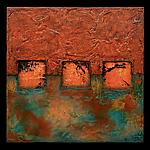 Earth and Fire: Blue Petite Square Triptych by Kara Young (Mixed-Media Wall Hanging)