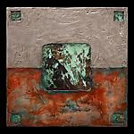 Earth and Fire: Silver Petite Square Triptych by Kara Young (Mixed-Media Wall Hanging)