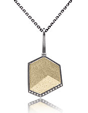 Gem Link Hexagon Pendant by Elizabeth Garvin (Gold, Silver & Stone Necklace)