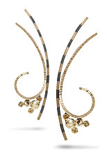 Vortex Pendant and Gust Earrings by Elizabeth Garvin (Gold & Stone Necklace and Earrings)