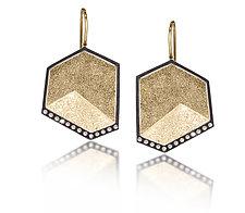 Gem Link Hexagon Drops by Elizabeth Garvin (Gold, Silver & Stone Earrings)