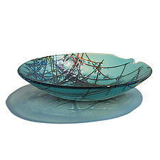 Iridescent Stringer Series - Aquamarine by Gregg Mesmer and Diane Bonciolini (Art Glass Bowl)