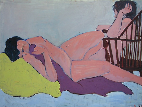 Woman on Bed with Woman on Chair