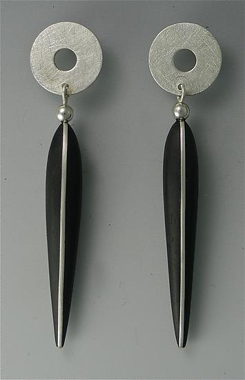 Ebony Earrings with Silver Inlay, Silver Tops, 14K Posts