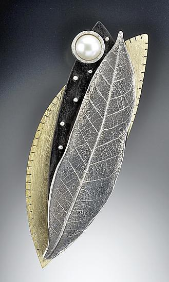 Silver Chinkapin Leaf pin with Studded Ebony, Pearl, and Brass