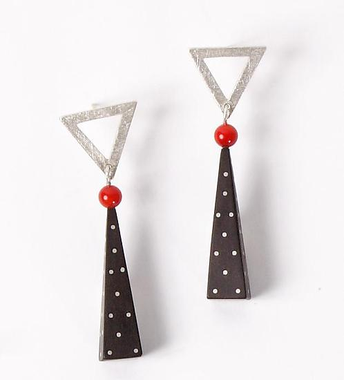 Silver and Ebony Earrings with Coral