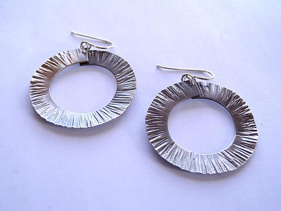 Large Forged Circle Earrings