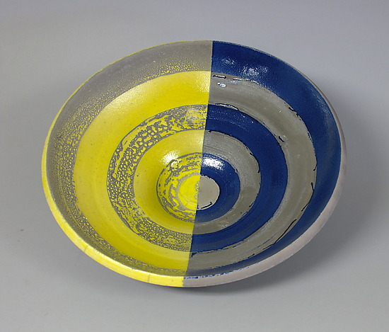 Yellow and Blue Concentric Circles Bowl