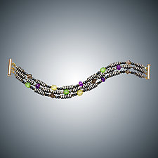 Hematite, Amethyst, and Green Quartz Bracelet by Judy Bliss (Gold & Stone Bracelet)