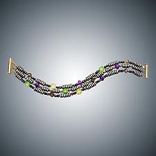 Hematite, Amethyst, and Green Quartz Bracelet by Judy Bliss (Gold & Stone Bracelet)