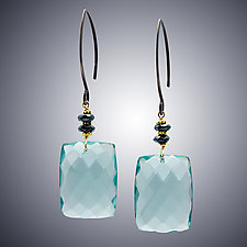 Aqua Quartz and Hematite Earrings by Judy Bliss (Silver & Stone Earrings)