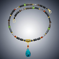 Carnival III London Blue Quartz Teardrop Necklace by Judy Bliss (Gold & Stone Necklace)