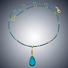 Corundum and London Blue Quartz Necklace by Judy Bliss (Gold & Stone Necklace)