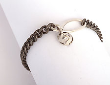 Curb Chain with Silver Clasp and Nugget by Dennis Higgins (Silver & Steel Bracelet)