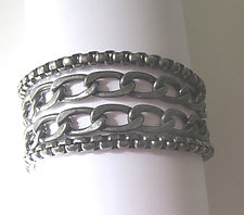 Box and Curb Chain Stainless Bracelet by Dennis Higgins (Silver & Steel Bracelet)