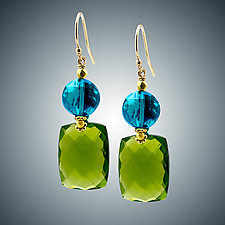 Peridot and London Blue Quartz Mini Earrings by Judy Bliss (Gold & Stone Earrings)