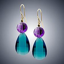 London Blue Quartz and Amethyst Teardrop Earrings by Judy Bliss (Gold & Stone Earrings)