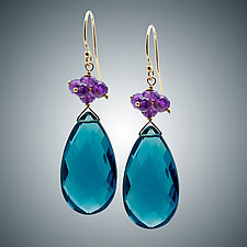 London Blue Quartz Teardrop and Amethyst Earrings by Judy Bliss (Gold & Stone Earrings)